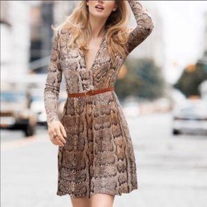 H&M snake print faux wrap long sleeve dress  XS